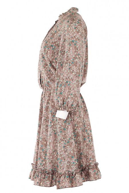 Весеннее коричневое платье в цветы