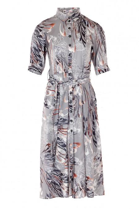Платье серое с кулисой в узор. Деловая женская одежда