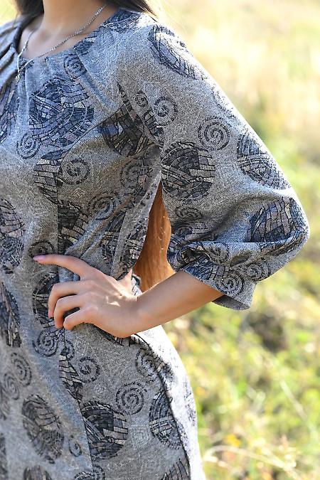 Купити трикотажну сукню сірого кольору. Діловий жіночий одяг.