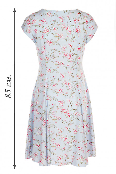 Купити голубу сукню в червоно-білу квітку. Жіночий одяг