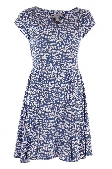 Сукня шестиклинна в листочки. Діловий жіночий одяг.
