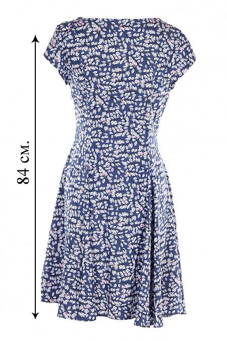 Сукня шестиклинна в білі листочки. Діловий жіночий одяг.