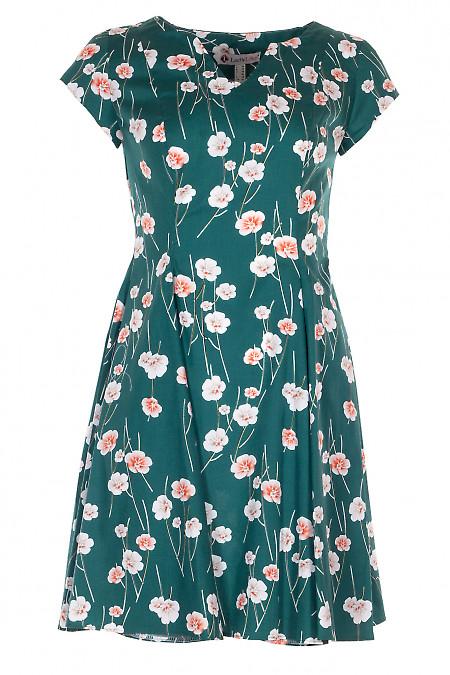 Сукня шестиклинна зелена в квіти. Діловий жіночий одяг.