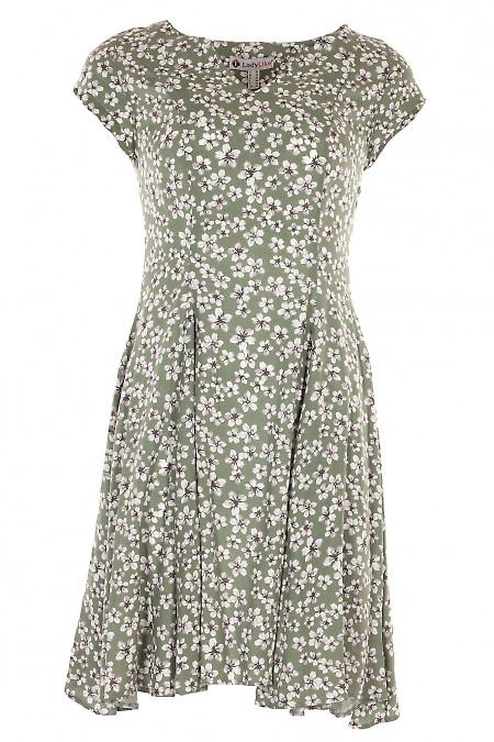 Сукня шестиклинна зелена в сірі квіти. Жіночий одяг.