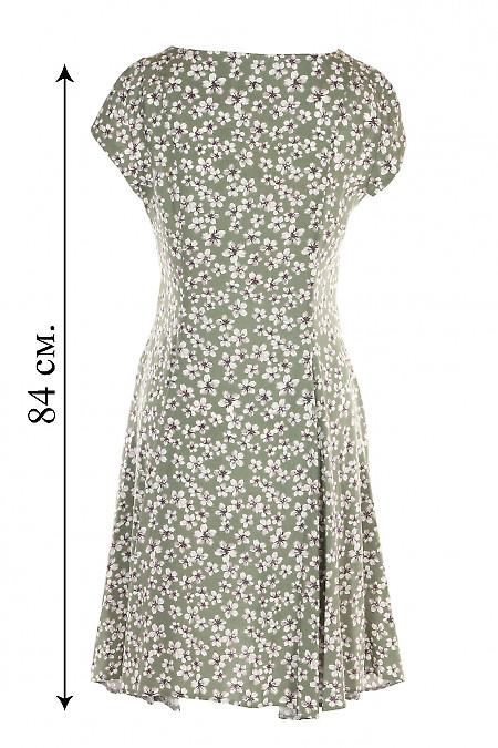 Купити сукню шестиклинну зелену в сірі квіти. Жіночий одяг.