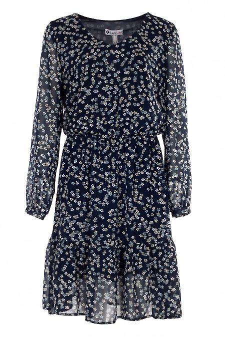 Купить синее шифоновое платье. Деловая женская одежда фото