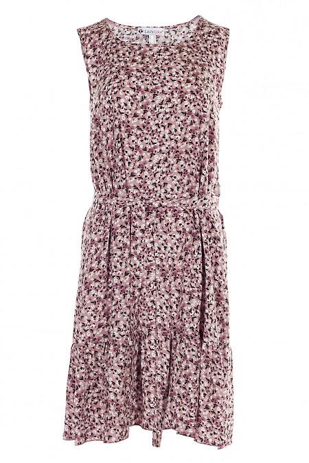 Платье штапельное розовое с рюшем. Женская одежда фото