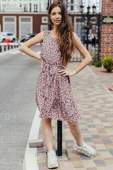Купить розовое в цветок платье. Деловая женская одежда фото
