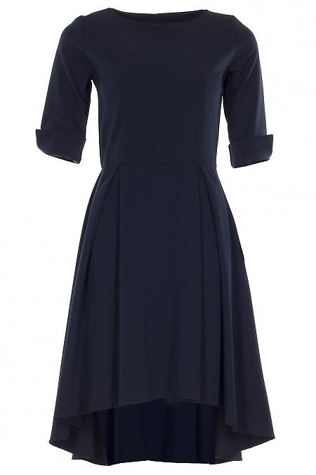 Сукня синя з неровним низом Діловий жіночий одяг фото