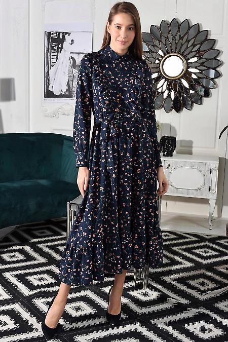Платье синее с рюшами и оборкой. Деловая женская одежда
