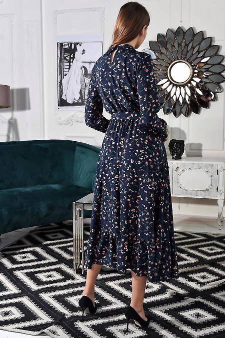 Синее платье в цветы