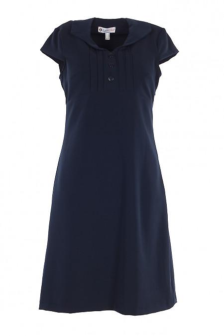 Сукня синя з тонкими защипами і коротким рукавом. Діловий жіночий одяг