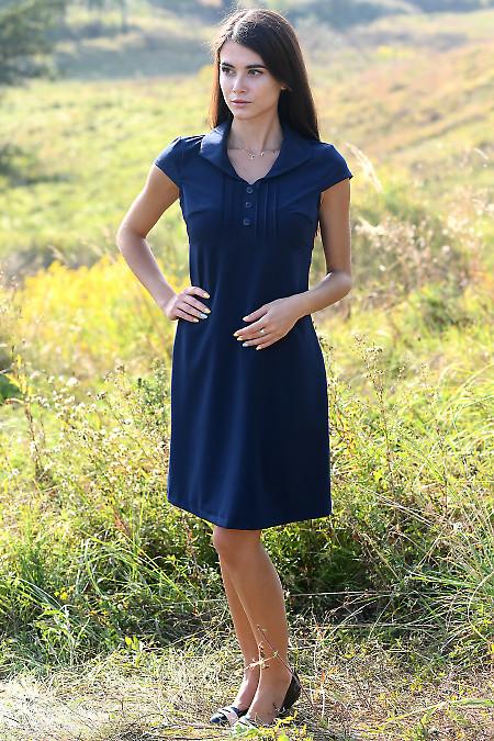 Купити коротку синю сукню з защипами. Діловий жіночий одяг