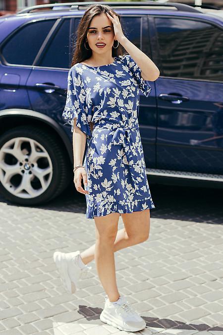 Купить синее штапельное платье в белый цветок. Деловая женская одежда фото
