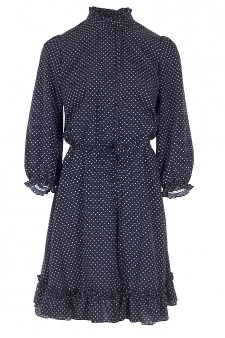 Платье синее в горошек на кулисе Деловая Женская Одежда фото