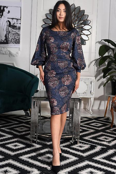Платье синее в розовые узоры. Деловая женская одежда фото