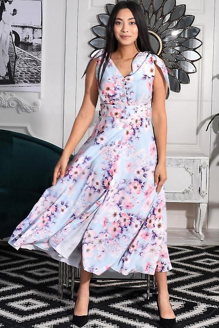 Сукня бузкова в рожеві квіти. Діловий жіночий одяг