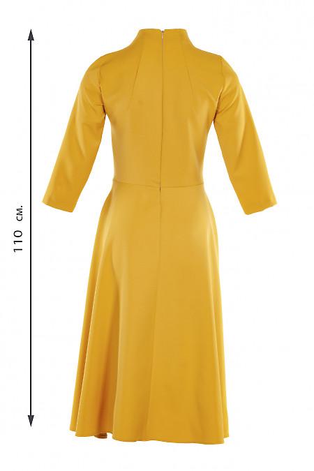 Купити гірчичну сукню зі стійкою. Діловий жіночий одяг