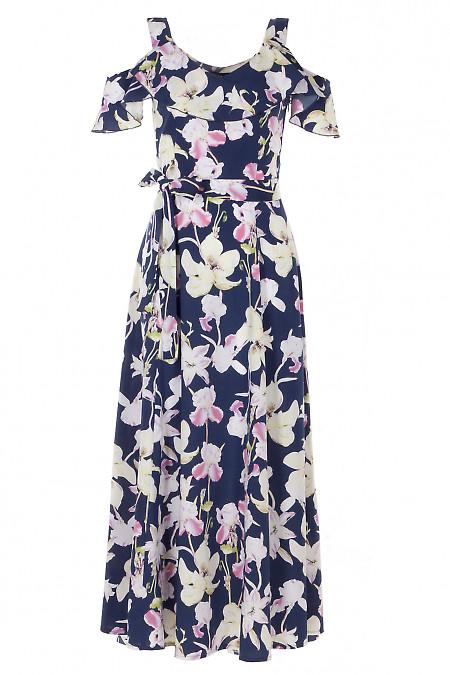 Платье темно-синее в цветы на бретелях длинное Деловая Женская Одежда фото