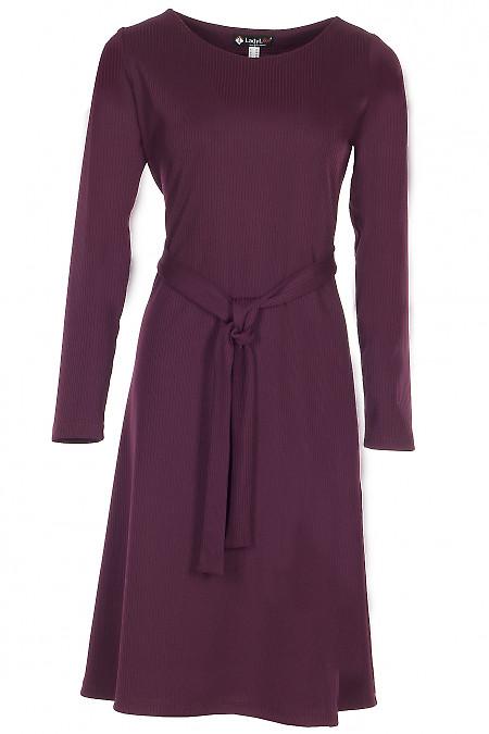 Сукня трикотажна розкльошена бордова Діловий жфночий одяг фото