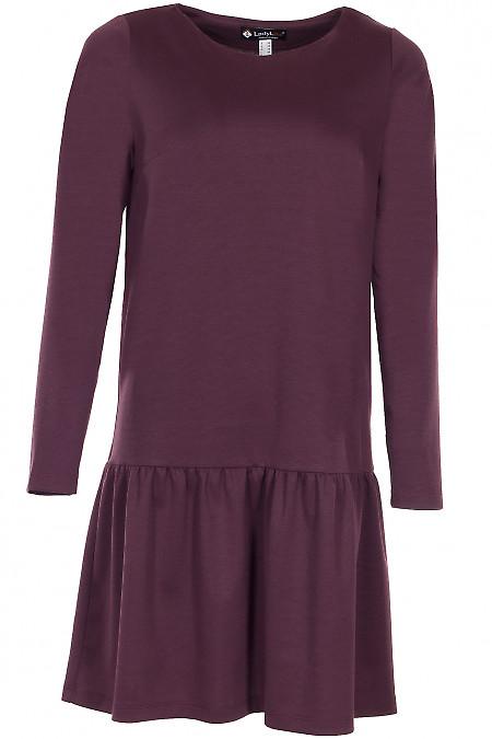 Сукня трикотажна з рюшею бордова Діловий жіночий одяг фото