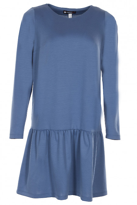 Сукня трикотажна з рюшею синя Діловий жіночий одяг. Фото