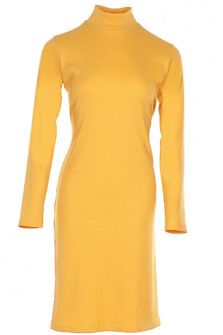 Сукня трикотажна зі стійкою гірчична Діловий жіночий одяг фото