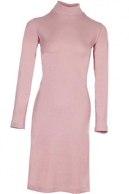 Сукня трикотажна зі стійкою рожева Діловий жіночий одяг фото