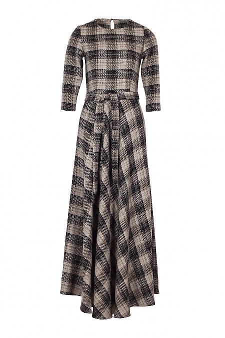 Сукня утеплена в підлогу в коричневу клітку. Діловий жіночий одяг
