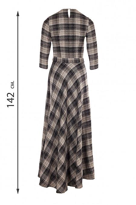 Купити сукню максі в чорно-бежеву клітинку. Діловий жіночий одяг.