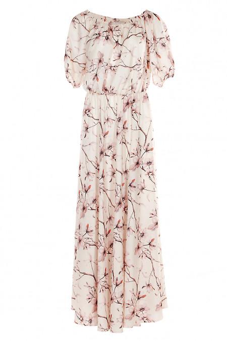 Платье в лилии с открытыми плечами. Женская одежда фото