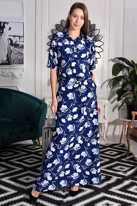 Сукня до підлоги синя в квіти. Діловий жіночий одяг фото
