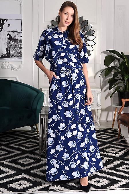 Синее платье длина миди фото
