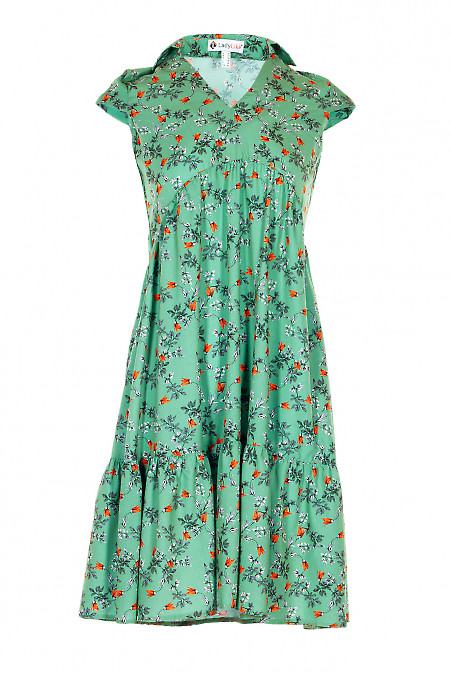 Сукня в руду квітку з воланом. Жіночий одяг.