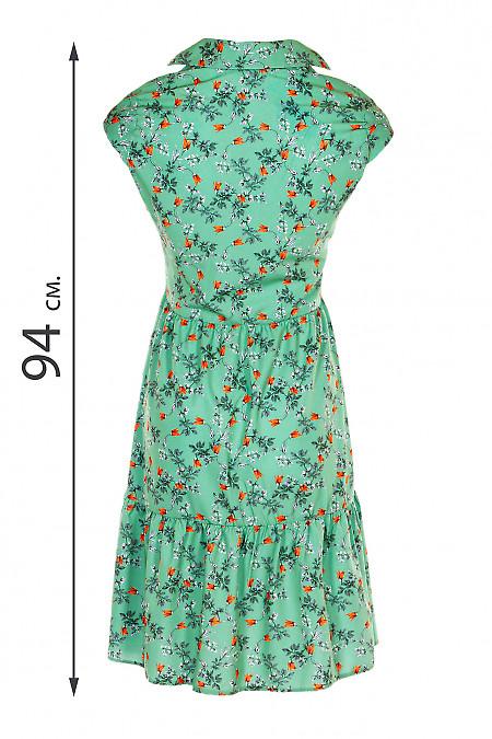 Купити сукню зеленого кольору в руду квітку. Жіночий одяг.