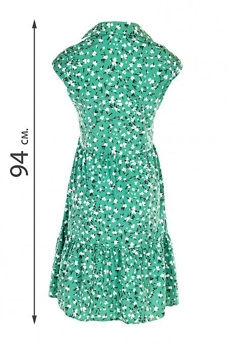 Літня зелена сукня з широким кроем. Діловий жіночий одяг.