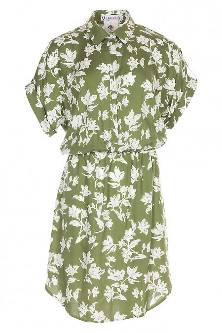 Платье зеленое с заокругленным низом. Женская одежда фото
