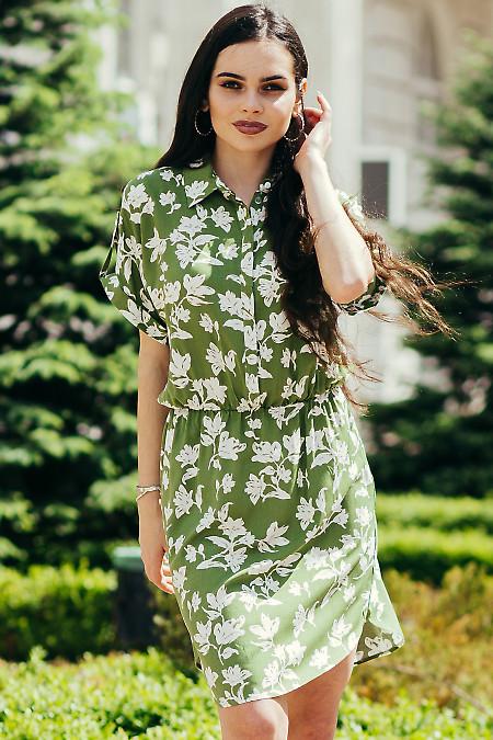 Легкое штапельное зеленое платье в цветы. Деловая женская одежда фото