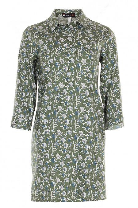 Сукня зелена в квіти з джинсу Діловий жіночий одяг фото