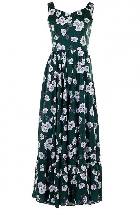 Платье зеленое в пол с воланом. Деловая женская одежда