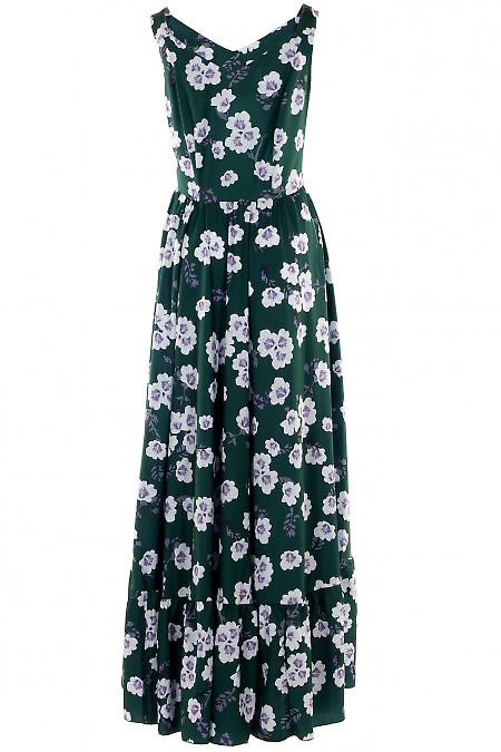 Зеленое платье миди в цветы
