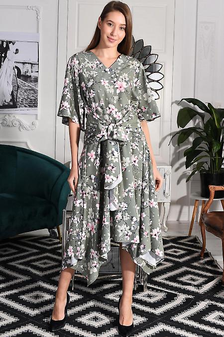 Платье зелёное в цветы серые. Деловая женская одежда