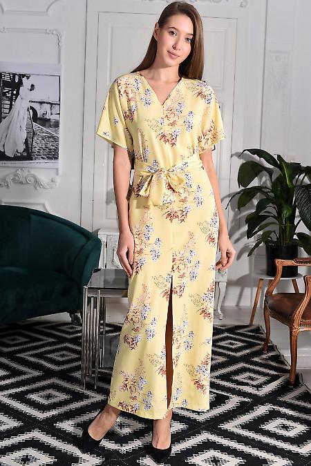 Платье желтое в пол с разрезом. Деловая женская одежда