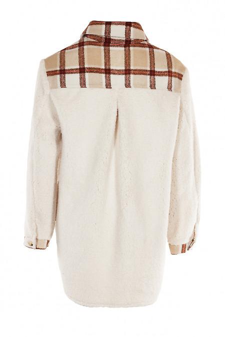 Купить меховую рубашку с клетчатыми вставками. Деловая женская одежда фото