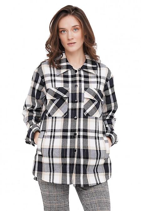 Рубашка теплая в клетку Деловая Женская Одежда фото