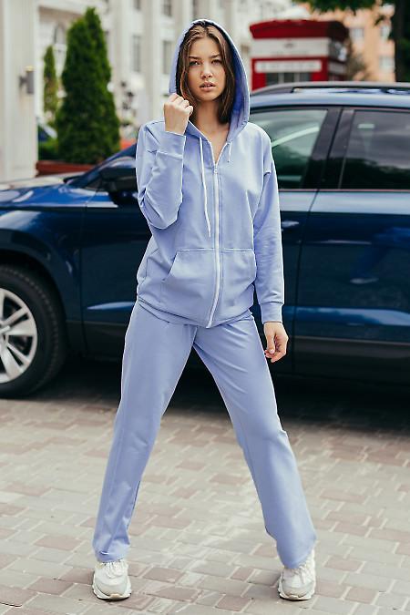Голубой спортивный костюм на молнии. Женская одежда фото