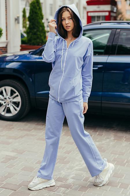 Купить голубой спортивній костюм на молнии. Женская одежда фото