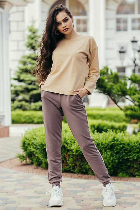 Спортивный костюм бежево-коричневый женский. Женская одежда фото