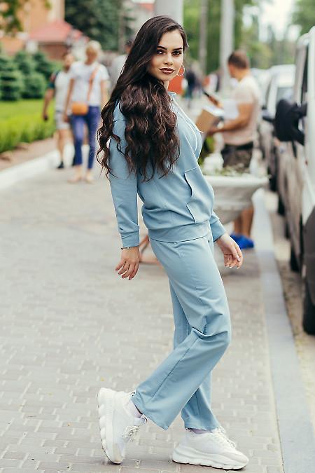 Спортивный серый костюм с худи на молнии. Женская одежда фото