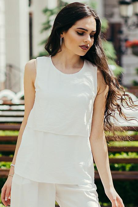 Стильный белый женский топ. Деловая женская одежда фото